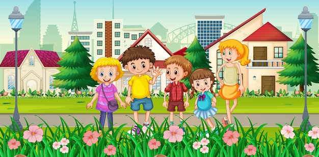 Outdoor house scene with many children