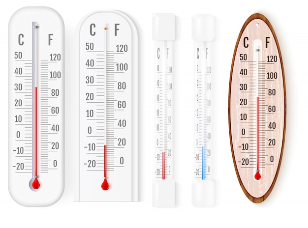 Outdoor and indoor fahrenheit and celsius thermometers