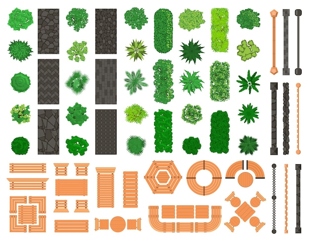 Outdoor landscape elements. architectural, landscaping city park trees, benches, paths, tables and chairs
