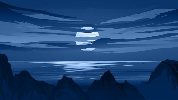 Открытый пейзаж ночного времени на пляже со скалами и лунным светом Premium векторы