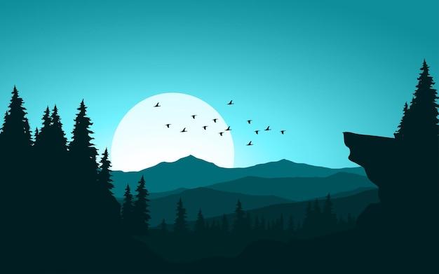 Открытый пейзаж с горным лесом и закатом Premium векторы
