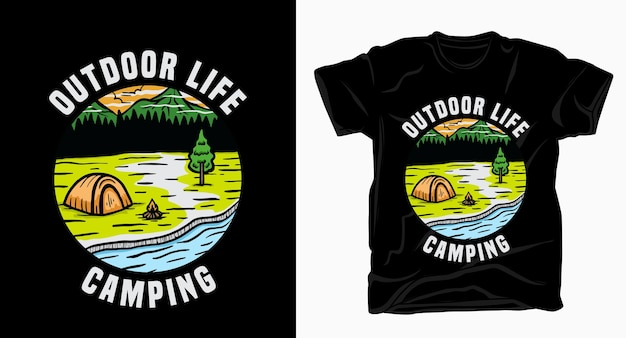 Outdoor life camping typography with tent and nature landscape t-shirt