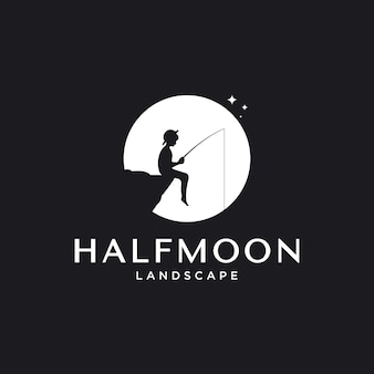 Outdoor logo design inspiration with moon and little boy fishing element,