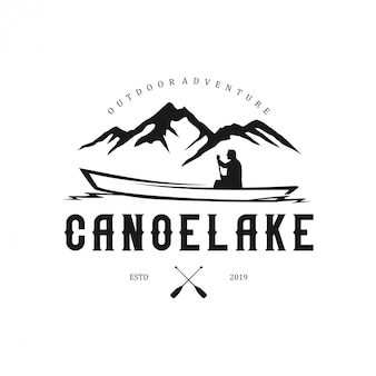 Outdoor logos with mountain elements and canoes