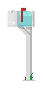 Открытый почтовый ящик на столбе с поднятым флагом, изолированным на белом