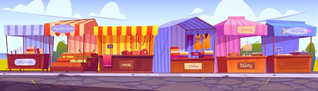 Outdoor market stalls, fair booths, wooden kiosks with striped awning, clothes and food products