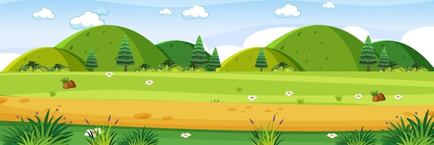 Открытый луг пейзаж сцена