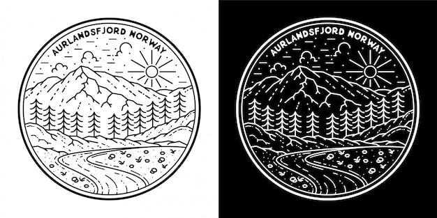 야외 모노 라인 배지 디자인, aurlandsfjord 노르웨이