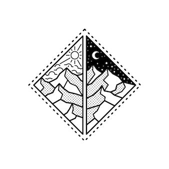 Outdoor monoline minimalist badge design