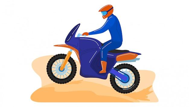 야외 오토바이 스포츠 이벤트, 남성 캐릭터 산악 자전거는 흰색, 만화 일러스트 레이 션에 고립 된 도로 지역을 타고.