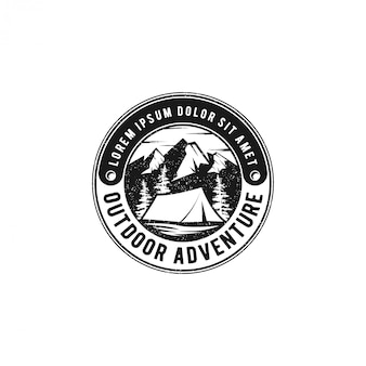 Outdoor mountain nature logo - adventure wildlife pine tree forest