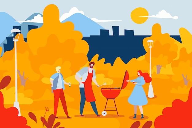 屋外国立森林公園バーベキュー友達会議、都市の秋の庭の漫画イラスト。バーベキュー食品キャラクター。