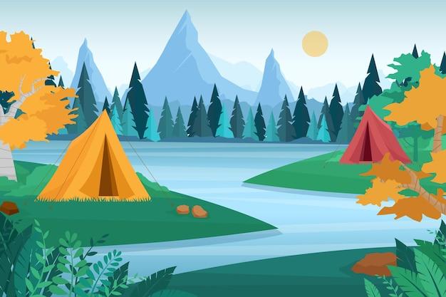 야외 자연 모험 캠핑 그림입니다. 피크닉 장소와 숲, 산 풍경 가운데 텐트와 만화 플랫 관광 캠프