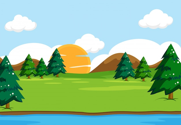 Outdoor nature landscape scene illustration