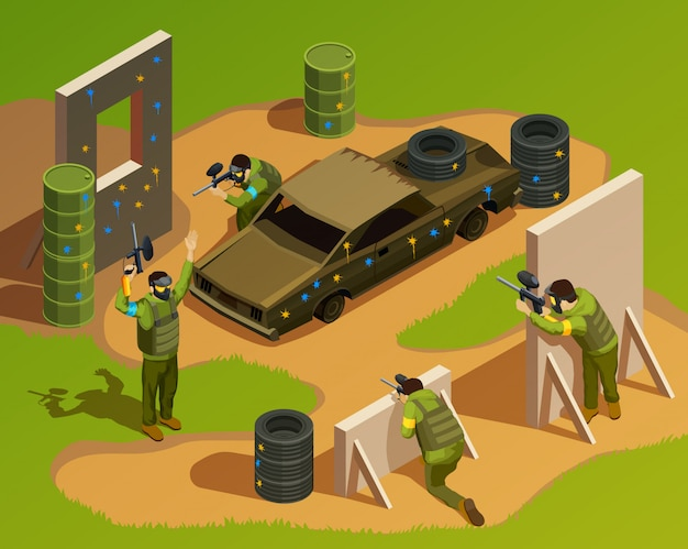 Outdoor paintball isometric composition
