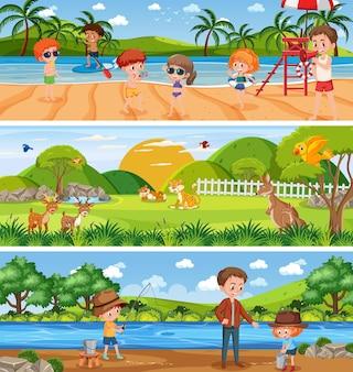 Открытая панорама пейзажной сцены с мультипликационным персонажем