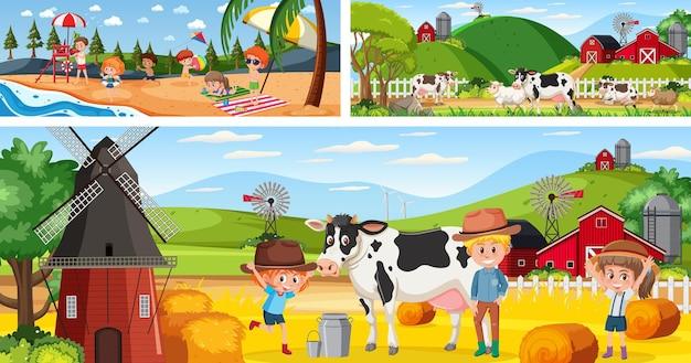 漫画のキャラクターが設定された屋外のパノラマ風景シーン