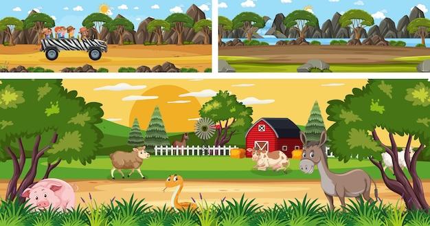 Открытый панорамный пейзаж с мультипликационным персонажем