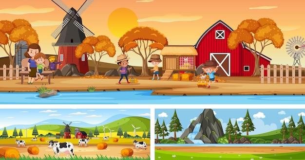 만화 캐릭터가 있는 야외 파노라마 풍경 장면