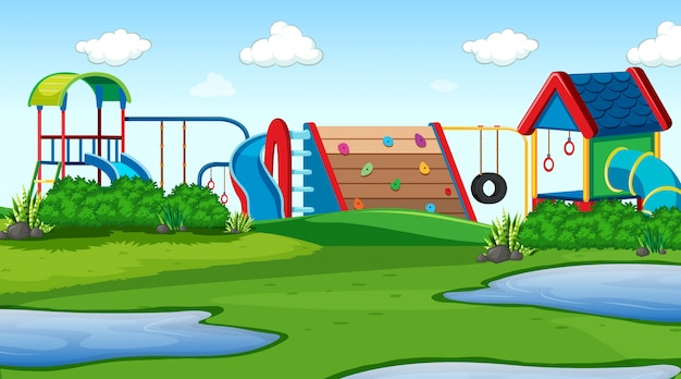 Outdoor park playground scene