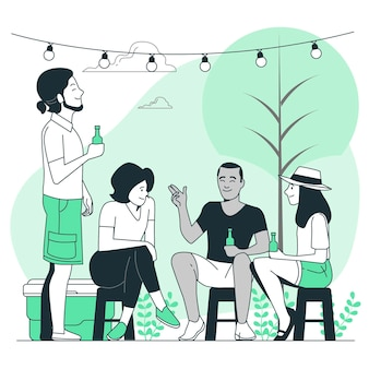 Outdoor party concept illustration