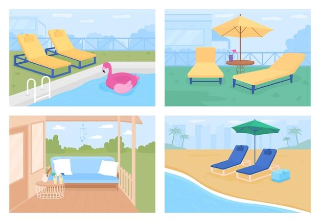 Outdoor patio ideas flat color illustration set