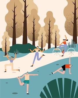 Outdoor people activities characters in landscape