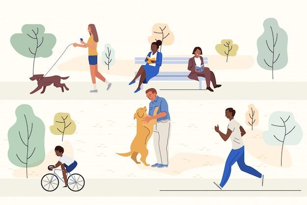 Outdoor people activities flat vector illustrations set
