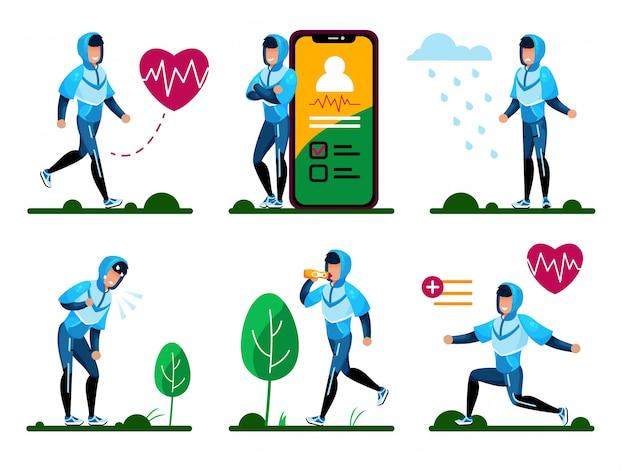 屋外の身体活動の概念セット