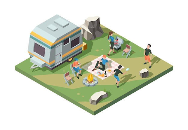 Outdoor picnic party with fire place, tent camp, barbecue and van