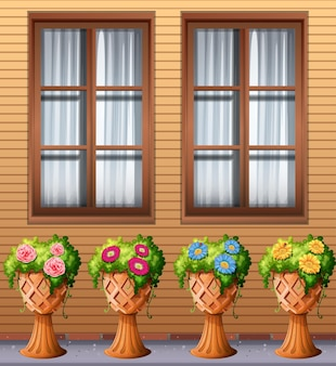 窓の下の屋外植物
