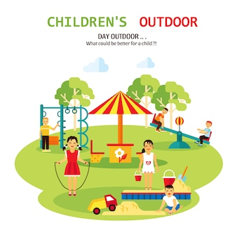 Outdoor playground flat illustration