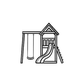 屋外の遊び場の手描きのアウトライン落書きアイコン。白い背景で隔離の印刷、ウェブ、モバイル、インフォグラフィックのスイングベクトルスケッチイラストと子供の屋外遊び場の概念。