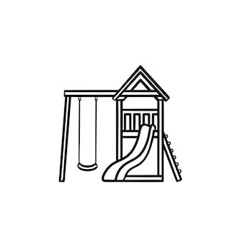 屋外の遊び場の手描きのアウトライン落書きアイコン。白い背景で隔離の印刷、ウェブ、モバイル、インフォグラフィックのスイング、はしご、スライドベクトルスケッチイラストと屋外の遊び場。