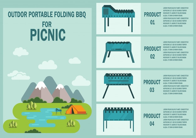 Outdoor portable folding bbq grilles vector banner