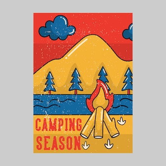 Outdoor poster design camping season vintage illustration