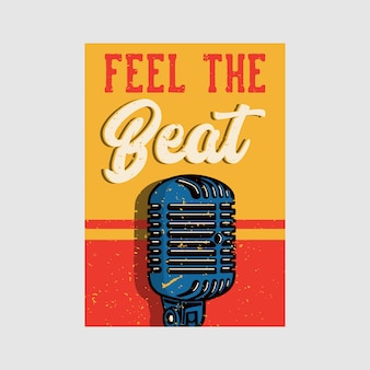 Outdoor poster design feel the beat vintage illustration