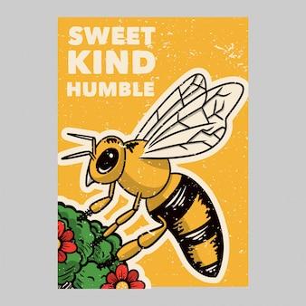 Открытый дизайн плаката сладкий добрый скромный винтажный рисунок