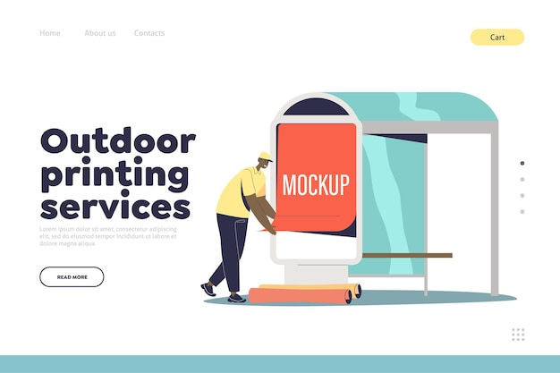 Outdoor printing services concept of landing page with male advertising agency worker put poster on bus station. urban advertisement and street marketing. cartoon flat vector illustration