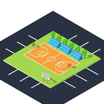 Открытый общественный баскетбольный корт с плоским и изометрическим дизайном