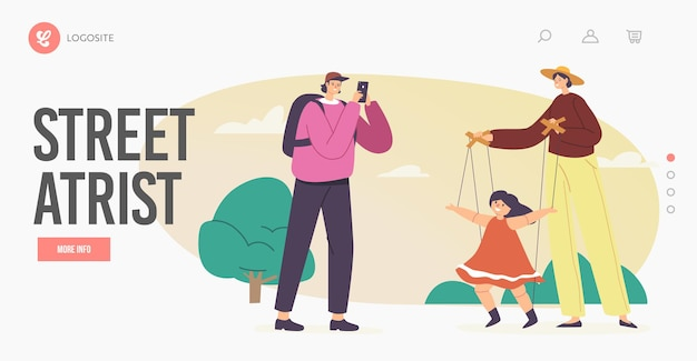 Outdoor puppet concert landing page template. master manipulate toy dancing on strings. street artist puppeteer character perform show with marionette doll on ropes. cartoon people vector illustration