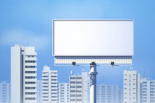 Outdoor realistic 3d billboard on city skyline background