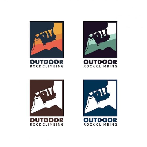 屋外ロッククライミング。パッチ、バッジ、ロゴ、サインデザインチームまたはクラブ