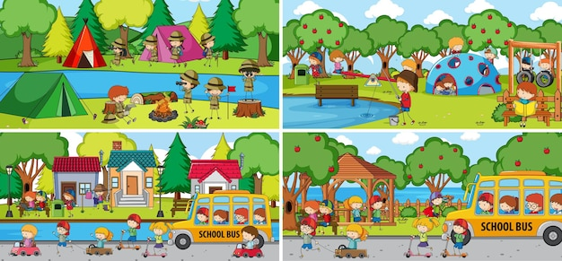 Outdoor scene set with many kids doodle cartoon character