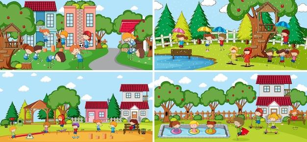 많은 아이들과 함께 야외 장면 설정 낙서 만화 캐릭터