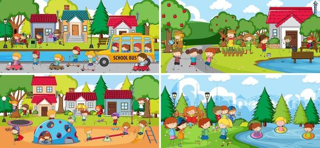 Сцена на открытом воздухе со многими детьми каракули мультипликационного персонажа