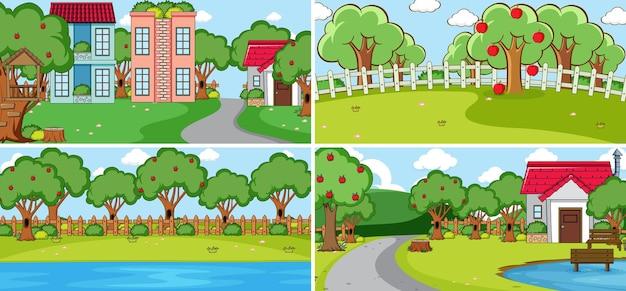 많은 아이들이 만화 캐릭터를 낙서하는 야외 장면