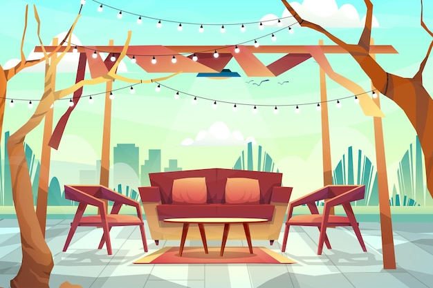 Outdoor scene of sofa with cous and table under lighting from ceiling