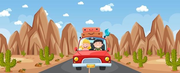 砂漠のシーンで旅行するカップルとの屋外シーン