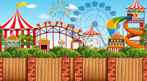 Outdoor scene with amusement park